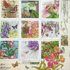 3 x Single Paper Napkins For Decoupage Mini Pictures Flowers Bird Butterfly M642