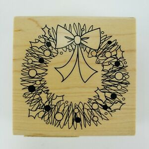 Christmas Wreath Rubber Stamp Doodle Scribble Holiday Holly Berries Wood Mounted