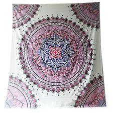 Tagesdecke Mandala Floral weiß pink 230 x 210 cm Überwurf Vorhang Decke