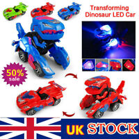 Transforming Dinosaur LED Car T-Rex Toys With Light Sound Electric Toys UK STOCK