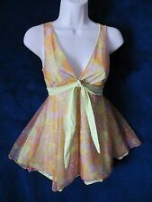 60's Vintage Psychedelic Genie Lime Sparkle Baby Doll Nighty Pantie Silhouettes