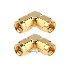 2pcs SMA Male to Male Right Angle 90-Degree Adapter Gold Plated Connector NIGH
