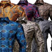 Mens Shirts Silk Long Sleeve Dress Shirt Slim Button Down Casual S M L XL XXL