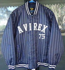 AVIREX 75 Bomber Pin Stripes MENS JACKET NY YANKEES SIZE XL EXCELLENT!