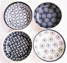 "Artisan Melamine Pasta Serving Bowls 8"" Set of 4 mixed designs ~ Blue and White"