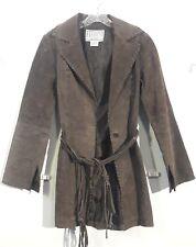 Vintage BB Dakota Leather Jacket Coat Brown with tassel belt Woman's S