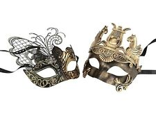 Black and Gold Venetian Couples Wedding Masquerade Costume Mask Set Elegant