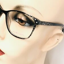 New Jill Stuart Eyeglasses JS345-2 Black Lace Glossy Frames with Rhinestones