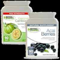 90 Aaci Berry 90 Garcinia Cambogia 1000mg DOUBLE STRENGTH Weight Loss Diet Pills