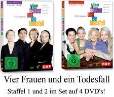 4 DVDs  * VIER FRAUEN UND EIN TODESFALL , STAFFEL 1 + 2 IM SET # NEU OVP %