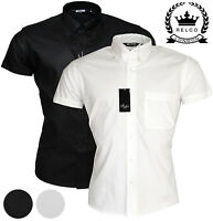 Relco Mens Black White Oxford Cotton Shirt Short Sleeve Button Down Vintage Mod