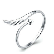 Angel Wing Heart Adjustable Ring 925 Stamped plated Jewelry Free Shipping AR-2