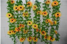 2 Pcs Artificial Fake Silk Sun Flower Ivy Vine Hanging Garland Party Home Decor