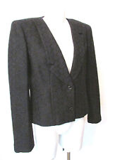 CHANEL 02C jacket blazer asymmetrical lapel navy blue tweed jeweled buttons s 42