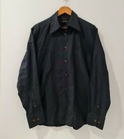 Country Road Mens Button Up Shirt Size L Black Long Sleeve Collared Slim Fit