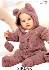Sirdar Snuggly Snowflake Chunky Knitting Pattern 1774 Baby All in One & Mittens