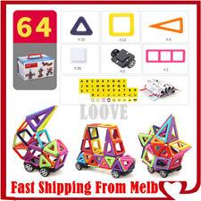 64 Piece Kids Magnetic Blocks Building Toys For Boys Girls Magnet Tiles Kits AU