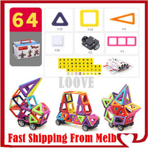 64 Piece Kids Mini Magnetic Blocks Building Toys Boys Girls Magnet Tiles Kits