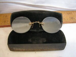 Early Pince Nez Pinch Nose Shell Frame Lens Spectacles w/Case No Frame