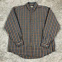 Vintage Eddie Bauer Long Sleeve Flannel Button Up Shirt Men's Large Plaid Cotton