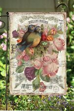 Belle Pink Roses and Birds Garden Flag * Double Sided * Top Quality * Nice