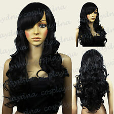 "28"" Heat Resistant Black Curly Long Cosplay Wigs with Side Bangs 70001"