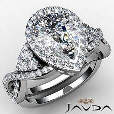 Halo Pre-Set Pear Diamond Engagement Ring GIA F Color VS1 18k White Gold 3.2ct