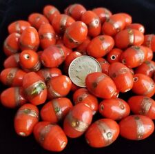 60 Indian Glass BULK BEAD LOT Red with Bronze barrel shaped 16 x 10 mm Spacers