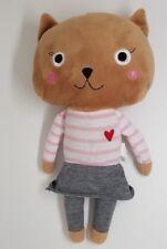 Peluche doudou chat marron MONOPRIX blanc rayé rose jupe gris coeur NEUF