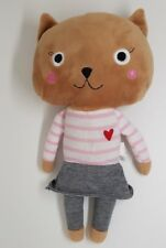 Cat plush toy brown pink striped white monoprix skirt grey heart new