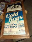 """VTG Busch Beer  31""""x17"""" Cold Kegs Wall Sign 1985 Faux Wood Bar Advertisment RARE"""