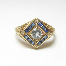 Estate 14K Yellow Gold 0.40 Ct Natural Blue Aquamarine, Sapphire, Diamond Ring