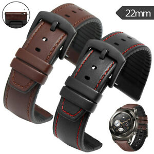 UK 22mm Leather Silicone Quick Release Wrist Band Watch Strap Replacement Belt