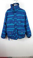 MENS ANIMAL BLUE STRIPED ZIP UP WINTER COAT JACKET SIZE MENS LARGE