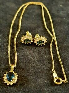 Sapphire Blue & Sparkling Accents Pendant on Chain + Matching Earrings (JEB2/01)