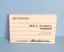03 2003 Toyota Camry Solara owners manual