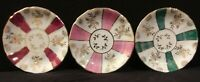 """Set of 3 Lefton Iridescent Lusterware Saucers Red, Green, Pink Gold Accent 4.5"""""""