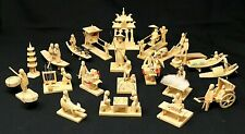 VINTAGE Group of 21 Chinese Folk Art Handcarved Wooden Miniatures, Village Life