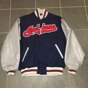 1995 Cleveland Indians Dugout Baseball Jacket LG LEATHER World Series STARTER
