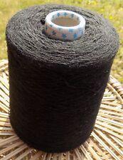 Knitting Machine Yarn fine 2ply 500g Wool / Acrylic Black Slight Slub  IND23.04