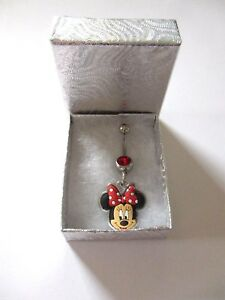 Brand New Disney World Minnie Mouse Sparkling Red Crystal Belly / Navel Bar