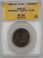 1852 US Braided Hair Large Cent Coin ANACS VF-30 Details Damaged Tooled Filed