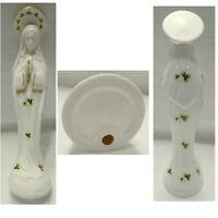 "Gold Trim Praying Virgin Mary Madonna Porcelain 9"" with 3 Leaf Clover All Over"