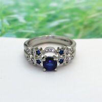 Wedding Creative Engagement Zircon Moon Star Rings Blue Color 2pcs/set Jewelry