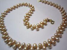 Perlenkette Süßwasser Tropf 42 cm, bis 6 mm Federring Silber vergoldet