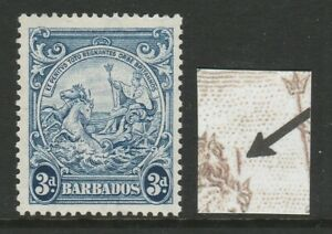 Barbados 1938-47 3d Blue with Vertical line over Horse's head SG 252ca Mint.