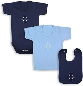 Diamond 9 Babywear Bundle - Navy Short Sleeve Bodysuit, Blue T-Shirt & Navy Bib