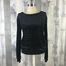Charming Charlie Women's Sz Small Long Sleeve Floral Black Pullover Blouse NWT