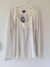 NWT WOMENS WITCHERY 100% TENCEL SMOCK TOP LONG SLEEVE SIZE L IVORY