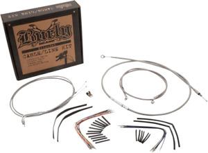"Burly Braided Stainless Steel Cable/Brake Line Kit 14"" Ape Hanger B30-1049"